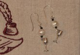 Wine glass and pearl silver earrings
