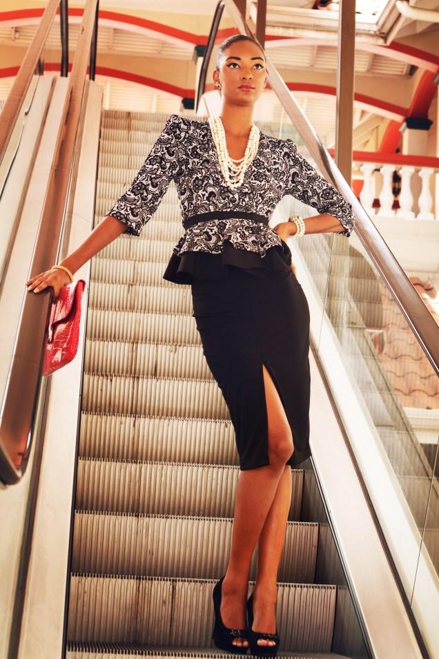 Printed Peplum Jacket & Front Slit Skirt