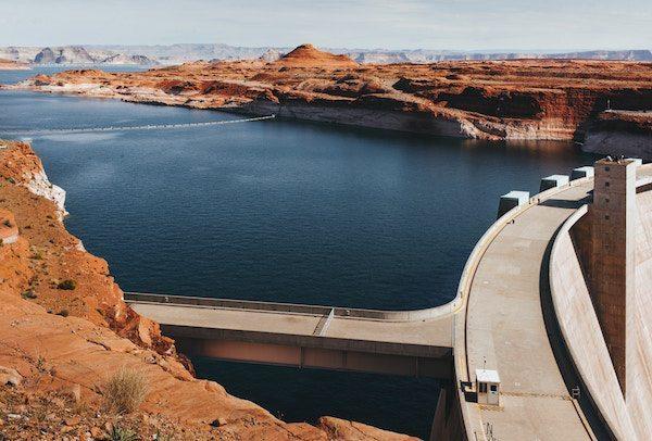 reservoir behind a dam