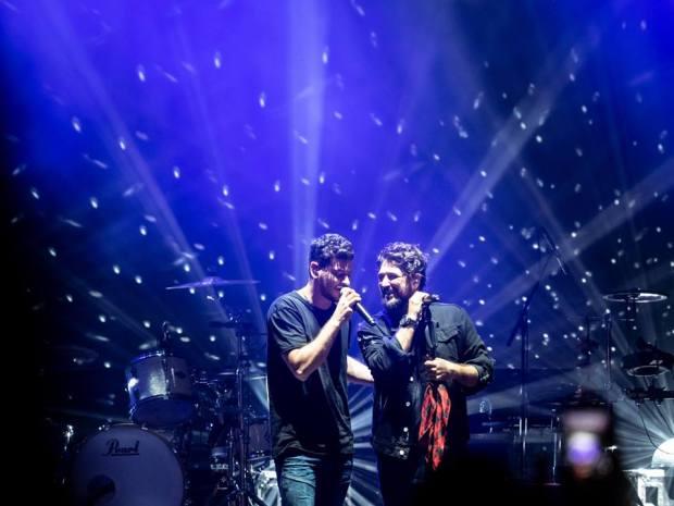Cepeda y Antonio Orozco durante el concierto de este último el 10 de octubre de 2018 en Zaragoza (Fuente: Espacio Zity)