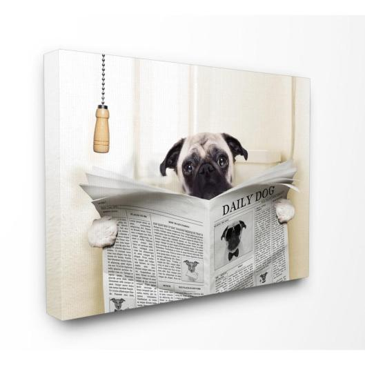 24 In X 30 In Pug Reading Newspaper In Bathroom In House Artist Printed Canvas Wall Art with 23+ Outstanding Bathroom Wall Art Canvas
