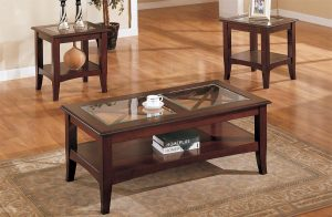 3 Piece Glass Dark Brown Finish Living Room Table Set throughout [keyword