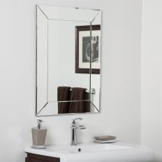 Avie Modern Clear Glass Frameless Bathroom Mirror Silver 315hx236wx5d for [keyword