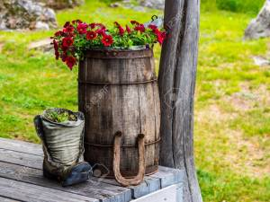 Barrel And Old Shoe With Plants Rustic Garden Flowers And regarding 26+ Best Wonderful Rustic Garden Decorations And Ideas