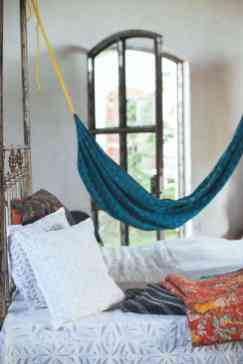 Bedroom With Blue Hammock And Metal Bed Frame Ways To Hang A regarding 14+ Awesome Indoor Hammock Ideas For A Lazy Sunday Morning