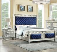 Blue Velvet Mirrored Queen Bedroom Set 3 Pcs Acme Furniture 26150q in [keyword