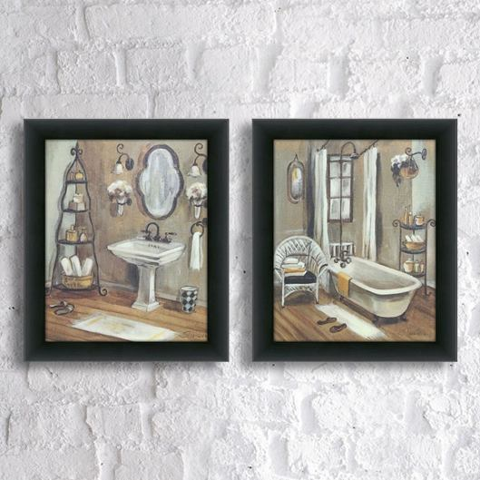 Copper Grove Bathroom 3 Framed Canvassed Wall Art Set Of 2 in 29+ Perfect Framed Bathroom Art