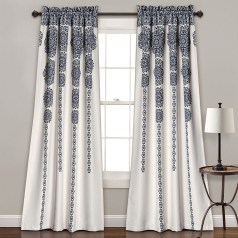 Damask Floral Navy Blue White Country Farmhouse Curtains For Living Room within 13+ Amazing Living Room Curtains