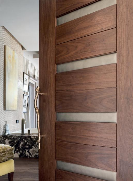 Decor Walnut Wooden Trustile Doors With Leather Insert For in [keyword
