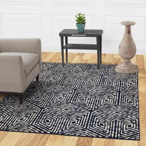 Diagona Designs Jasmin Collection Cubes Design Navy And Ivory 8 Ft X 10 Ft Area Rug within 27+ Dorable Living Room Carpet