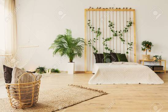Eco Bedroom With Rope Wall Bed Hammock And Plants Stock Photo intended for [keyword