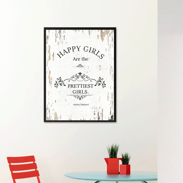 Happy Girls Are The Prettiest Girls Framed Textual Art On Canvas In White intended for 29+ Perfect Framed Bathroom Art