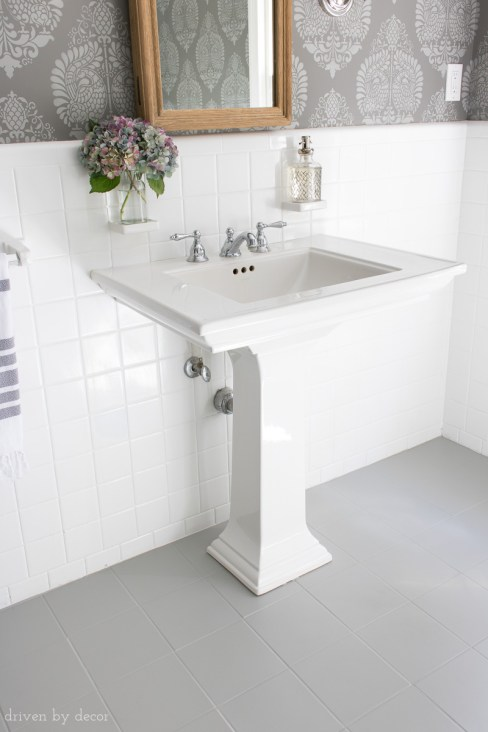 How I Painted Our Bathrooms Ceramic Tile Floors A Simple And regarding 14+ How To Tile A Bathroom Floor With Plank Tiles