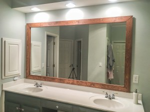 How To Diy Upgrade Your Bathroom Mirror With A Stained Wood Frame intended for [keyword