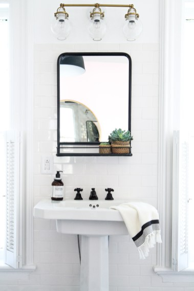 How To Hang A Bathroom Mirror On Ceramic Tile Apartment Therapy pertaining to ucwords]