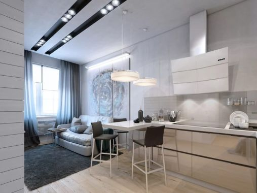 Kitchen In Living Room With Bar Counter Original Interior Ideas in ucwords]