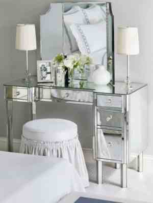 Mirrored Bedroom Vanity With Table Lamps And Round Backless Stool pertaining to ucwords]