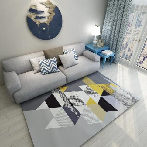 Modern Style Ins Popular Geometric Striped Printed Carpet Big Size Living Room Carpet Rectangle Ground Mat Decoration Mat Shaw Carpet Colors within 27+ Dorable Living Room Carpet