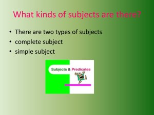 Subjects And Predicates for [keyword