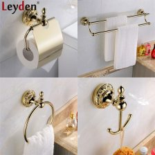 Us 1669 46 Offleyden Wall Mounted 4pcs Bathroom Accessories Set Gold Brass Double Towel Bars Towel Ring Toilet Paper Holder Robe Hook In Bath with ucwords]