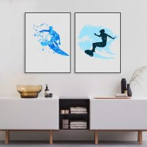 Us 266 20 Offwatercolor Surfers Art Print And Poster Modern Abstract Surfing Wall Art Canvas Painting Pictures Bathroom Wall Decor In Painting within ucwords]