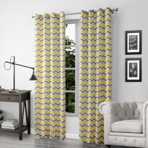 Yellow And Gray Chevron Zig Zag Living Room Curtains Geometric throughout ucwords]