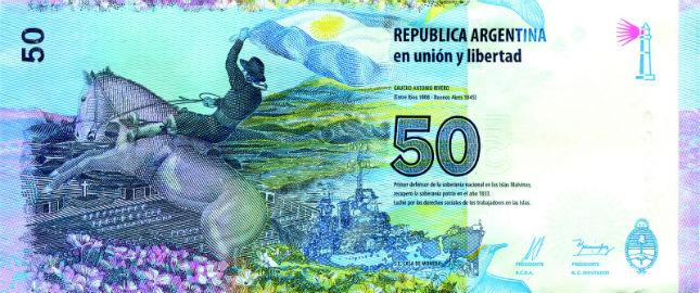 Reverso del nuevo billete de 50 pesos. Foto: BCRA