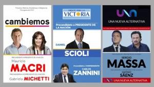 Mauricio Macri y Gabriela Michetti - Daniel Scioli y Carlos Zannini - Sergio Massa y Gustavo Sáenz