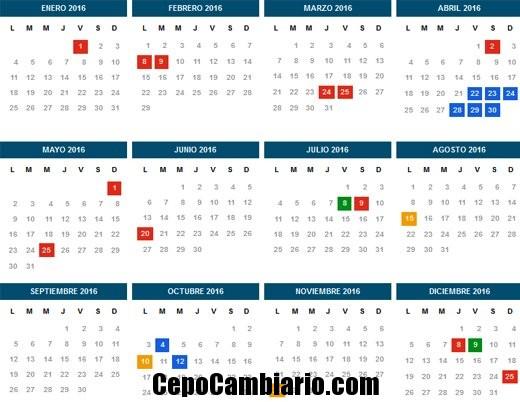 Feriados Nacionales y puentes, y vacaciones de invierno 2016