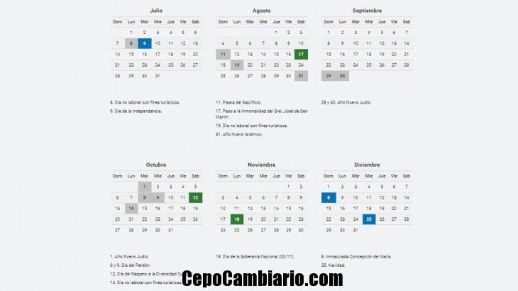 Feriados el 8 y 9 de julio