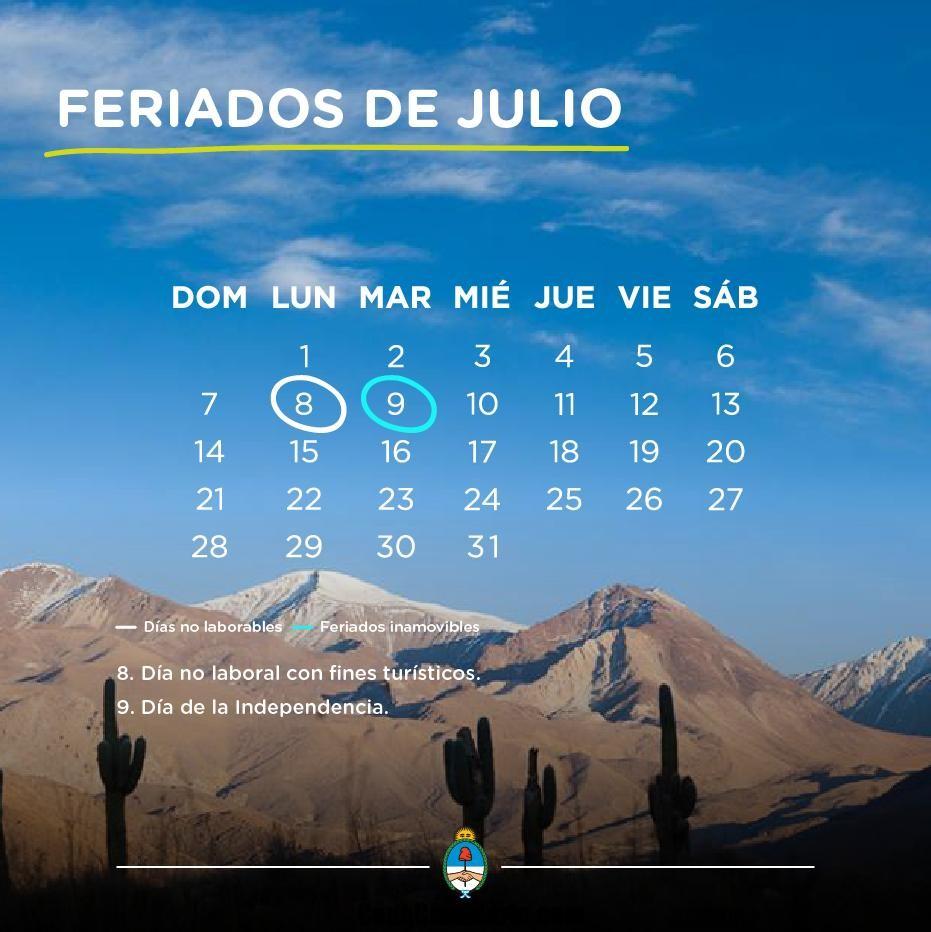 Es feriado puente el lunes 8 de julio?