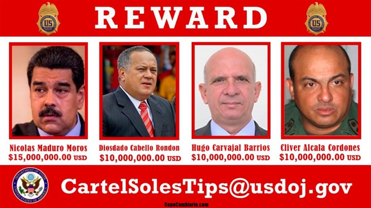 EE.UU. acusa a Maduro de narcotráfico y ofrece una recompensa de US$15 millones por su captura además de otros políticos