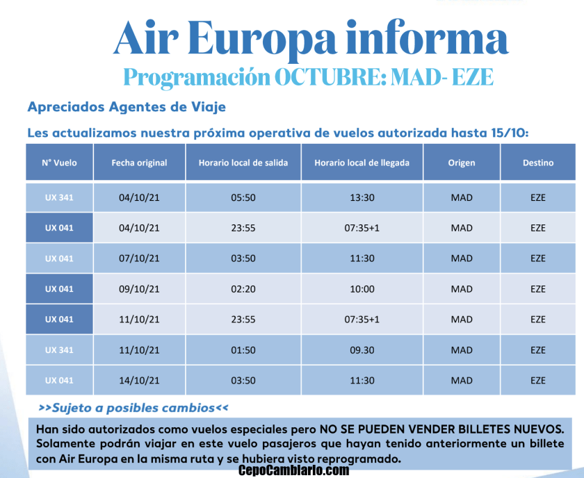 Air Europa vuelos octubre actualizados ahora