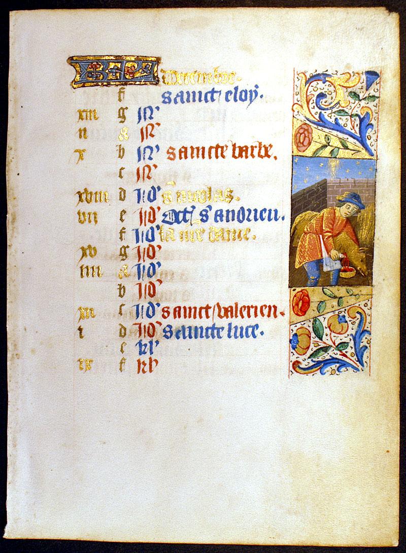 Calendar Leaf For December C 1460 From A Medieval Book Of