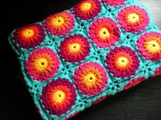 Sunburst Aqua Granny Square Blanket - Cera Boutique