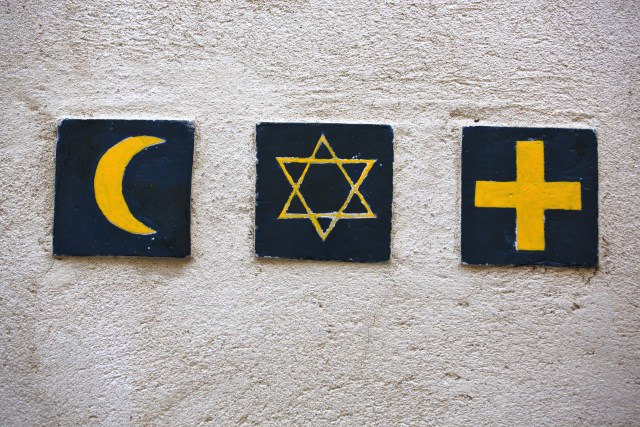 Set of 3 religious symbols: islamic crescent, jewish David's star, christian cross
