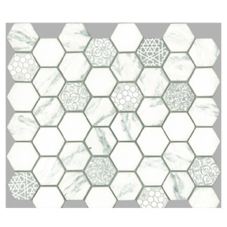 Signature Hexagon White Satin 45x52mm