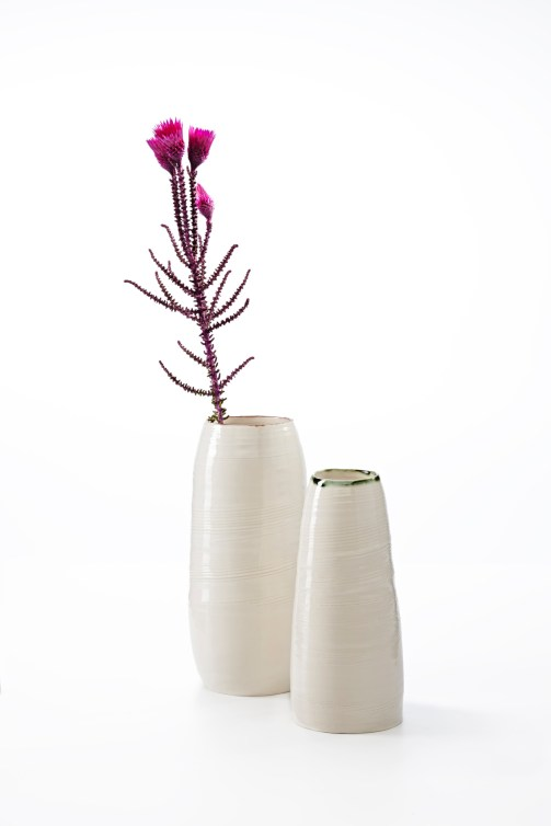Image 3 KA Ceramics Bronze lustre rim vessel and copper rim vase