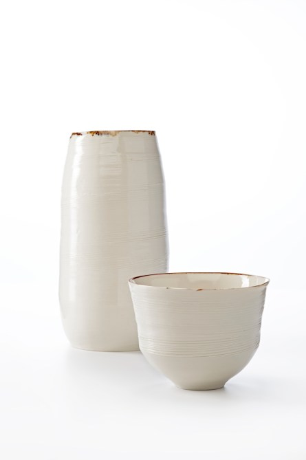 Image 4 KA Ceramics Bronze lustre rim vessel and small bowl