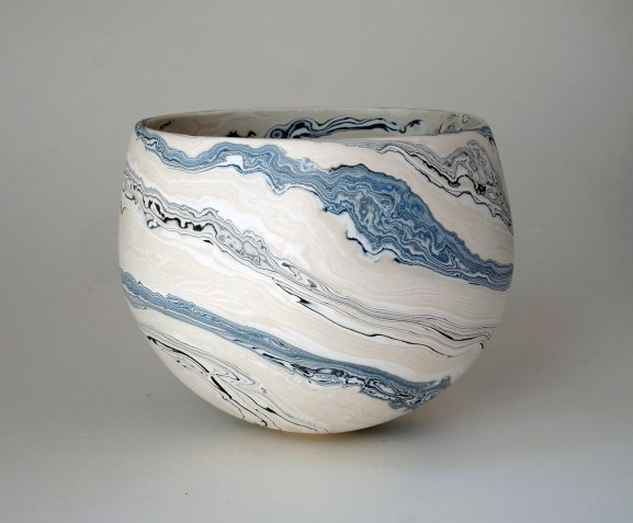 medium white & black/blue bowl 14 x 17.5 £420 BJD2