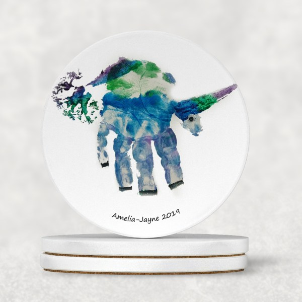 unicorn handprint personalised coaster