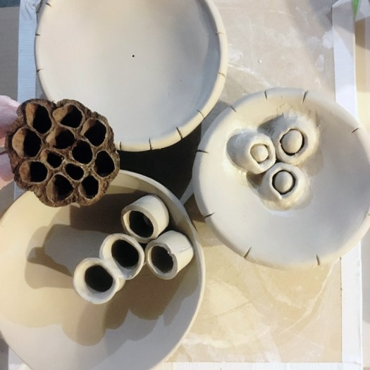 Ceramicscapes - Ceramic Seed Pod Wall Art before under construction