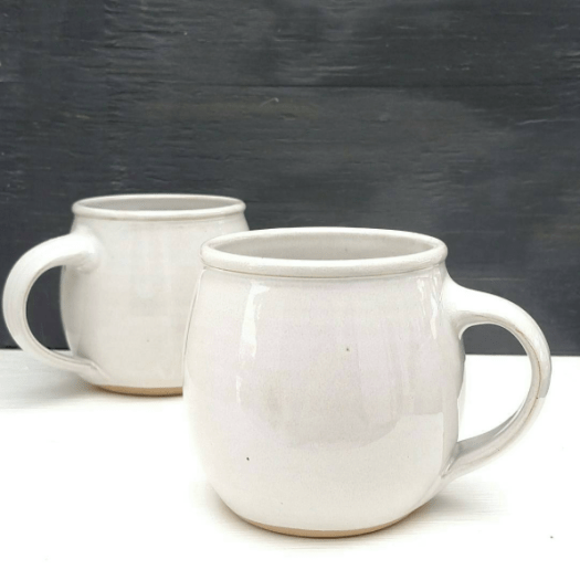 JD Wolfe Pottery - Classic wheel thrown mugs glazed in white