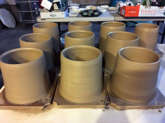 eramicScapes - Wheel Thrown Stoneware Planters Drying