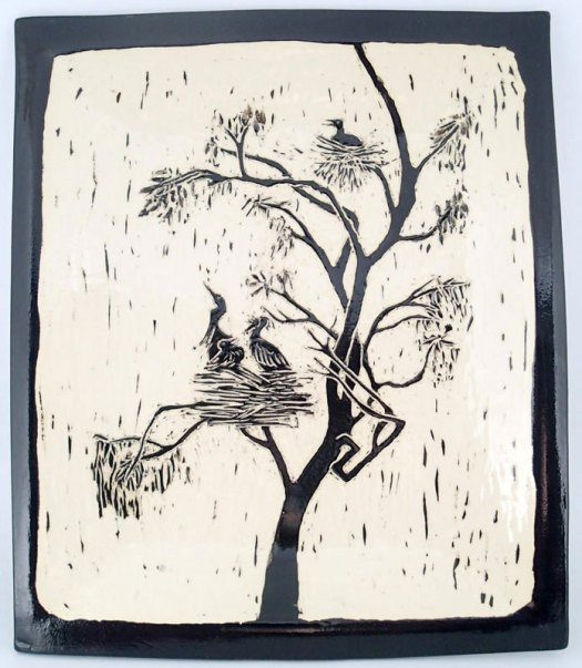 Jackson Gray of JackPots Pottery - Sgraffito Platter Based on a Photo of a Heron Rookery Jackson's Husband Took