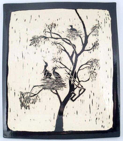 Jackson Gray of JackPots Pottery - Sgraffito Platter Based on a Photo of a Heron Rookery Jackson's Husband Took