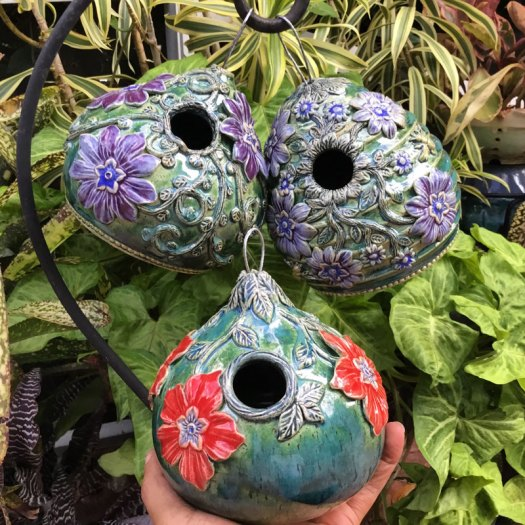 Karrita Renzelmann of Queen Bee Pottery - Bird Houses