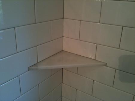 carrara marble soap niche shelf