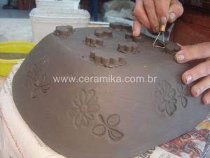 pés para fruteira argila stoneware
