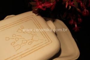 tampa para travessa biscoito de ceramica